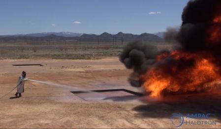 An 80B (200 ft2) UL pan fire test taken at AMPAC Halotron test field in Cedar City, Utah