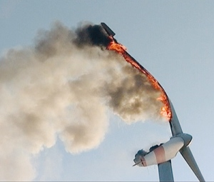 August's turbine fire at Isselburg, Germany, gradually consumes a blade